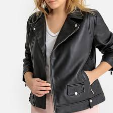 leather biker jacket castaluna plus size image 0