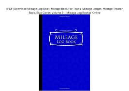 Pdf Download Mileage Log Book Mileage Book For Taxes