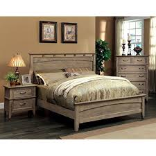 rustic wood bed frame.  Frame Furniture Of America Vine II Rustic Style Solid Wood Bed Eastern King  Reclaimed Oak With Bed Frame U