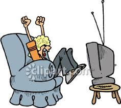 sports fan clipart. superbowl game fan sitting in his arm chair cheering - royalty free clip art illustration sports clipart