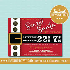white elephant gift exchange invitation template new secret santa invitation editable printable gift