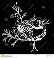 Unillustrazione Di Due Uccelli Su Un Ramo Disegno In Bianco E Nero