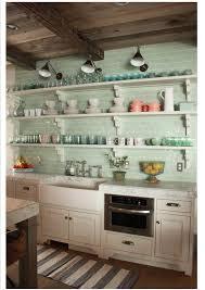 Green Tile Backsplash Kitchen Sea Glass Green Subway Tile Backsplash And Open Shelves So Pretty