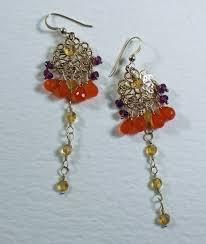 long gold chandelier earrings orange gold gems long gold earrings chandelier earrings