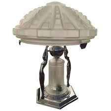 French Art Deco Table Lamp With Geometric Glass Shade