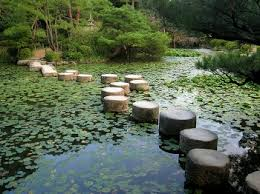 Japanese garden pond with lily pads and stepping stones