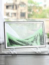 3d ornament craft hourglass sand moving scene frame picture light green 22 x17cm
