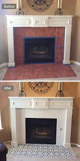 fireplaces diy painted fireplace makeover stenciled tile surround augusta painting