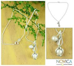 calla lily 925 sterling silver pearl pendant necklace