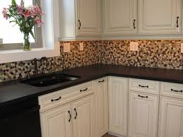 Kitchen Backsplashes : Kitchen Stone Backsplash Ideas With Black Countertop  Also Metal Sink Fauchet Togeher Flower In The Window Rock Interior Tile For  ...