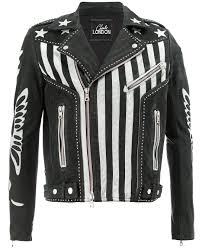 Designer Black Leather Jacket Mens American Flag Designer Leather Jacket