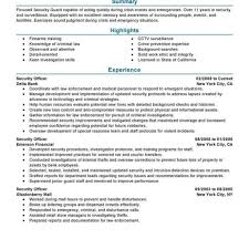 Security Officer Resume Examples Best Security Officer Resume Example Livecareer Regarding Sample 19