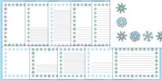 Snowflake Writing Paper Portrait Page Borders