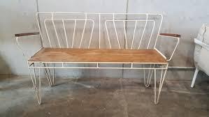 vintage metal wood garden bench