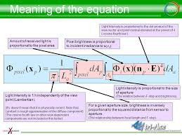 meaning of the equation light intensity is proportional to the dot of the view vector