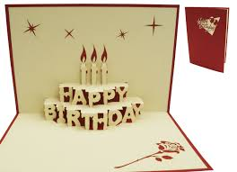 Pop Up Birthday Card Birthday Cake With Candles Red Lin Lin