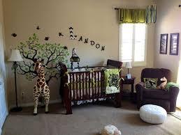 Jungle Safari Bedroom Forest Baby Nursery Beautiful Childreen Room  Decorations Green Tree Brown Sofa Woode Bedding Giraffe Dool Stand Landon