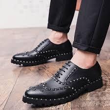 2019 men s new rivets bullock dress shoes men s patent leather business office formal wear tassel casual