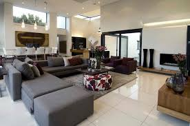 outstanding contemporary living room designs letter l grey sofa brown square wooden table dark brown armchair white tiles floor white chair