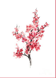 Cherry Blossom Japanese Flowers Poster Greeting Card