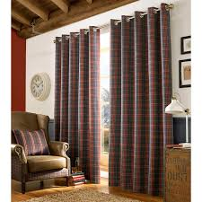 archie fully lined eyelet curtains woven tartan check denim blue curtain pair denim blue red curtain pair x