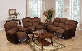 Reclining Living Room Set Poundex F6681 F6682 F6683 Chocolate And Brown 3 Pc Reclining Sofa Set