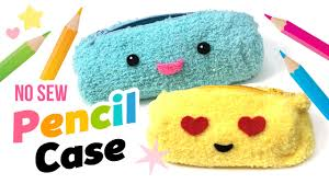 easy diy no sew fluffy pencil case or make up bag make diy emoji school supplies you