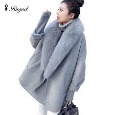 elegant women winter wool coats fur collar plus size grey warm loose woolen coat fashion thicken long jackets casaco feminino casaco feminino wool coat fur