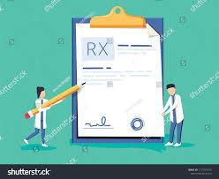 Rx Pad Design Miniature Doctor Writing Prescription Clipboard Whit Stock