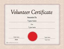 Volunteer Certificates Special Certificates Volunteer Certificate Template