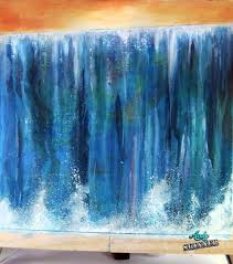 acrylic drip technique a great technique and relatively easy the waterfall effect was achieved by applying traditions acrylic paints to a wet canvas
