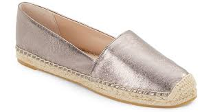 french connection sammy metallic leather espadrille flats in metallic lyst