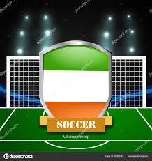 Illustratie Van Ierland Vlag Met Schild Voetbalstadion Stockvector