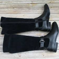 Women's Liz Claiborne Wendi Black Corduroy Fabric Riding Boots Shoes size 9  | eBay