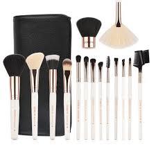 makeup brush set by zoreya white rose gold 15 piece set with bag