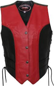 women s red black leather vest tap to expand