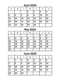 Printable Monthly Calendar July 2020 April May And June 2020 Calendar Printable Calendar 2020
