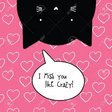 Tu Me Manques Carte Fou Citation Romantique Caractère Cat