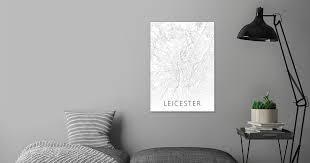 '<b>Leicester City</b> Map BW Art' Metal Poster Print - Design Turnpike ...