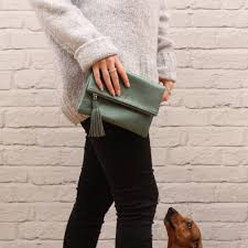 foldoverclutchbagsilver original personalised luxury italian leather foldover clutch bag 1