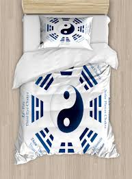yin yang duvet cover set twin size yin yang symbol and trigrams for i ching philosophy with nameeanings decorative 2 piece bedding set with 1
