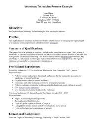 resume cover letter for vet tech veterinary technician resume samples