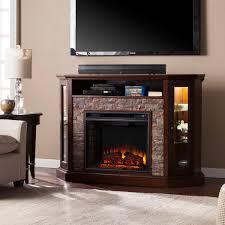 52 25 redden corner convertible electric a fireplace espresso faux stone