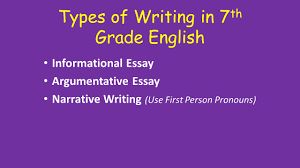 types of writing in th grade english informational essay  1 types of writing in 7 th grade english informational essay argumentative essay narrative writing use first person pronouns