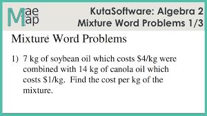 kuta algebra 2 mixture word problems part 1