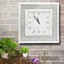 details about 50x50cm crystal decor square mirror clock wall mount for living room reception
