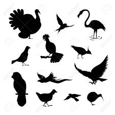 簡単な鳥のシルエットのセットブラック カラー