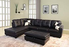 living room set. Lifestyle Black 3-Piece Faux Leather Left-facing Sectional Sofa Set With Storage Ottoman Living Room