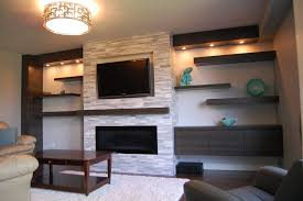 Living Room With Fireplace And Tv Decorating White Wooden Bookcase Display With Tv Stand White Fabric Arms Sofa