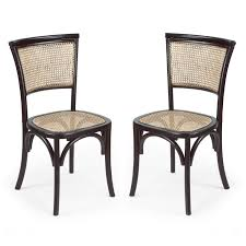 Black Wood Dining Chairs Joveco Antique Vintage Rattan Solid Elm Wood Dining Chair Set Of